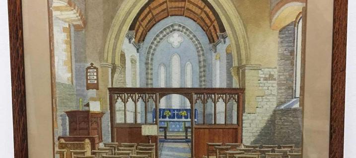 painting of interior of St. Mary's Church, Wollaston